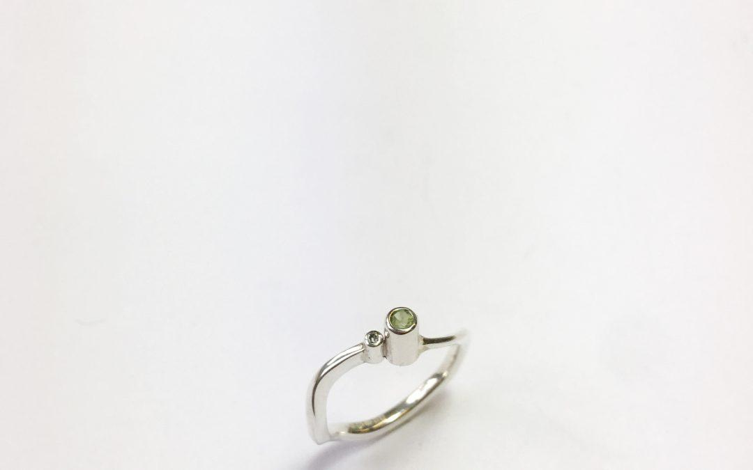 Serenity Ring Peridot and Diamond