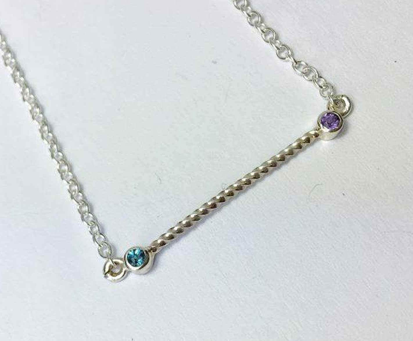 Twisted Bar Pendant Necklace